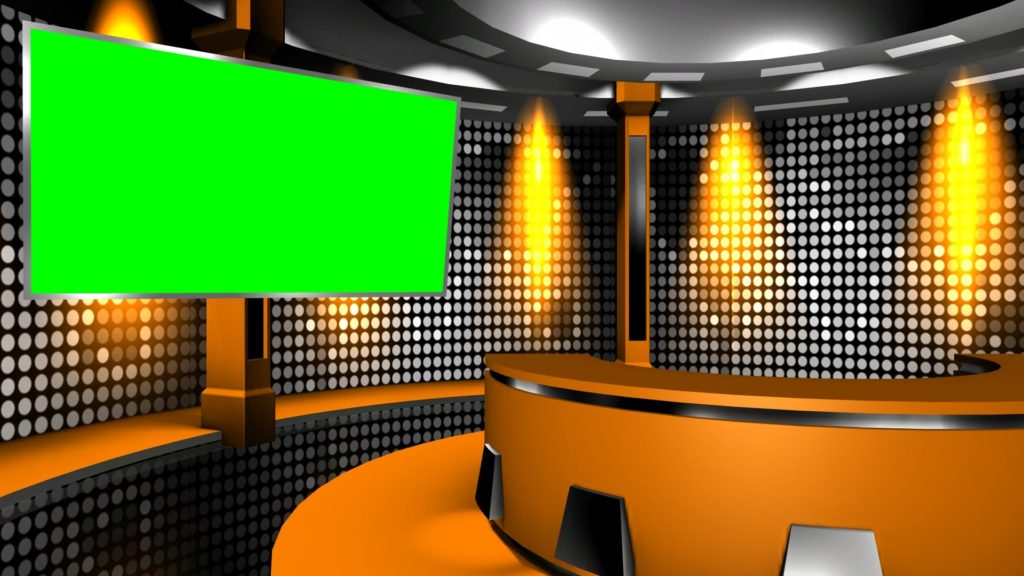 A Still Virtual Television Studio Background With Green