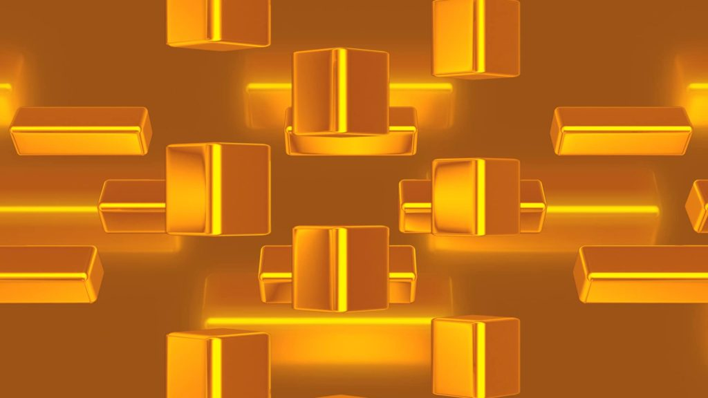 Abstract Video Menu Background with Gold Cubes