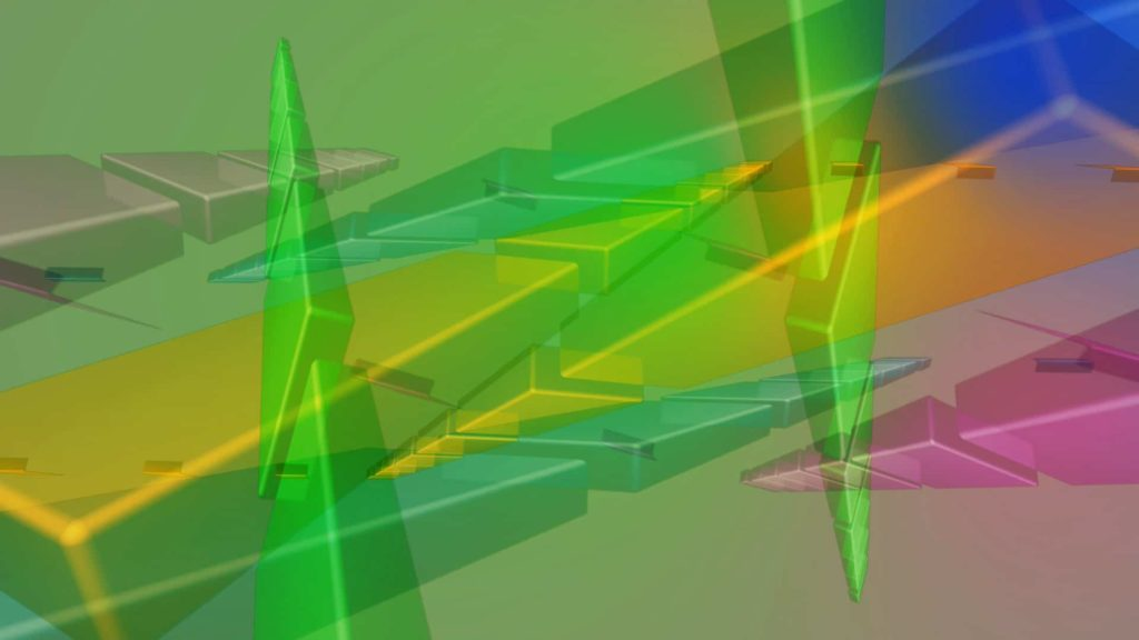 Geometric Colourful Pyramid Shapes On A Green Hued Background