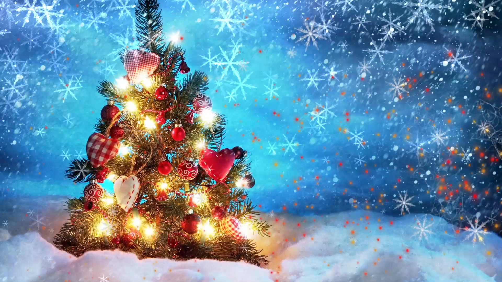 Holiday Video Menu Background With Christmas Tree And Snowflakes Free Video Footage