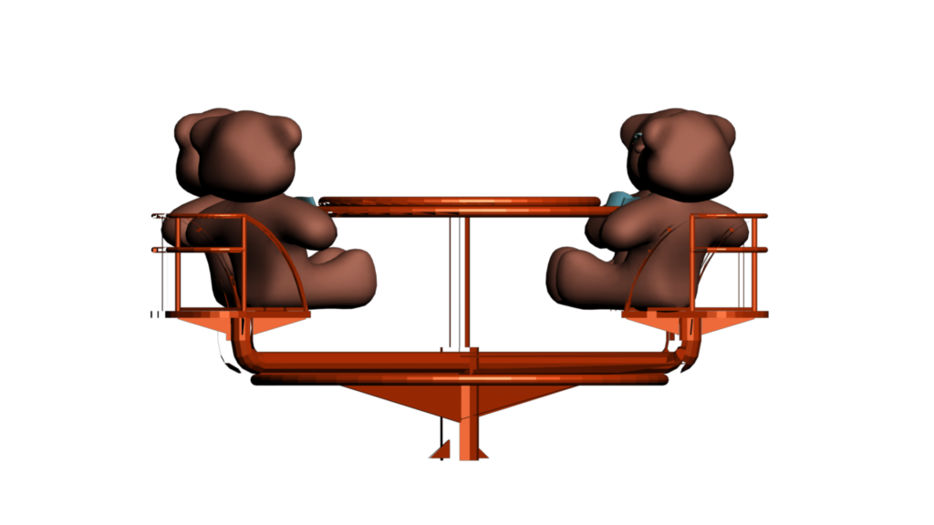 Kids Themed Video Clipart of Manual Merry-Go-Round with Teddy Bears