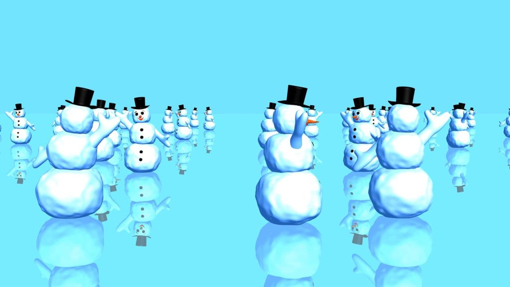 A Kids Themed Video Menue Background Consisting Of Rows Of Snowmen On A Blue Background