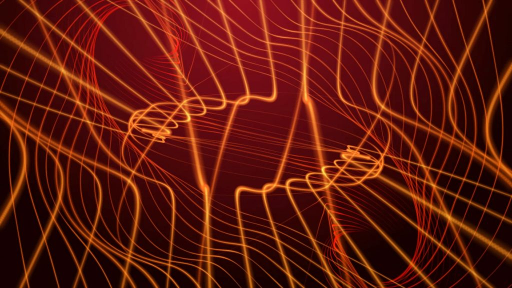 Ligths Video Menue Background Of Bright Orange Electric Lines On A Dark Red Background