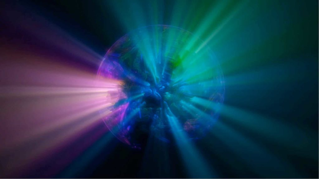 Lights and Globe Video Menu Background with Earth and Colourful Light Rays