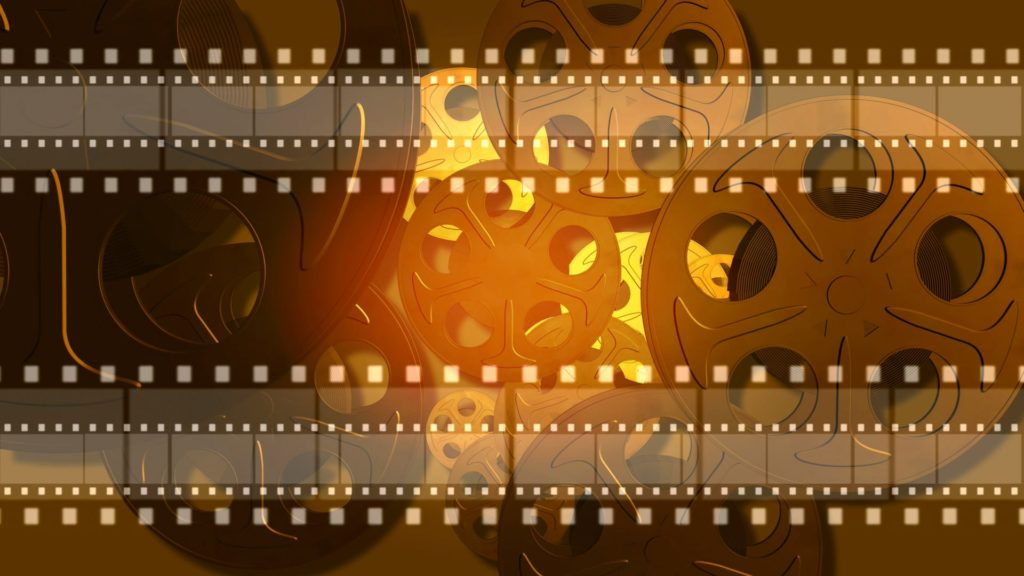 Movie Video Menu Background with Film Reels and Segments