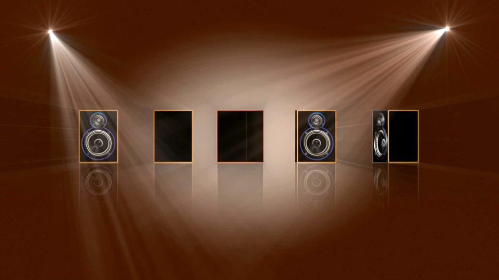 Music Video Menu Background with Speakers and Amplifiers