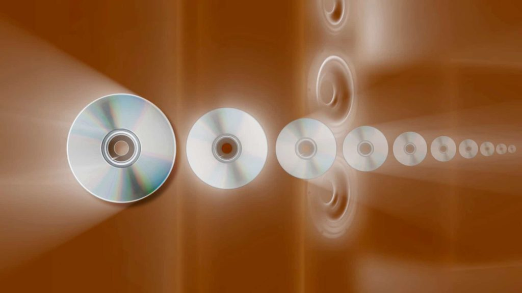 Music Video Menu Background with CDs and Speaker Horns