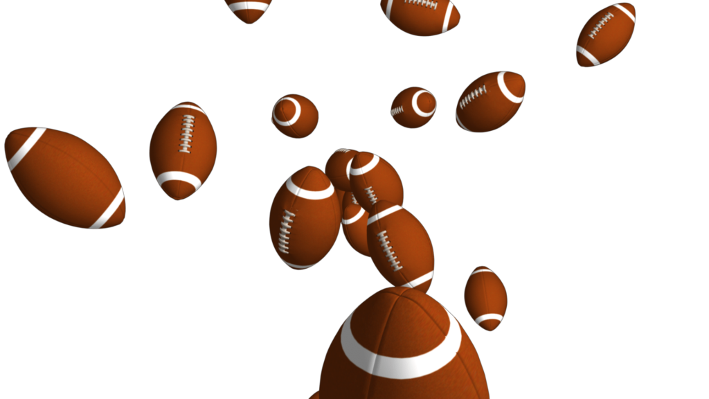 Sports Themed Video Clipart with Footballs Falling