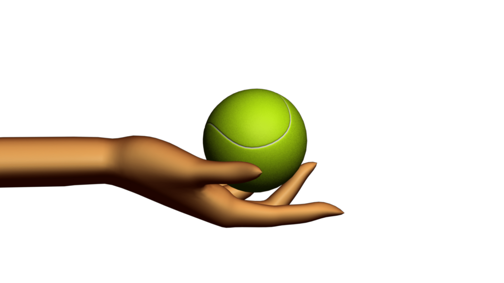 Sports Themed Video Clipart with Abstract Hand Holding Tennis Ball