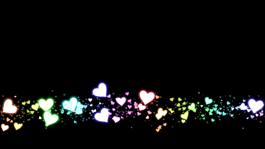 A Still Video Lower Third Consisting Of Various Neon Coloured Hearts On A Black Background