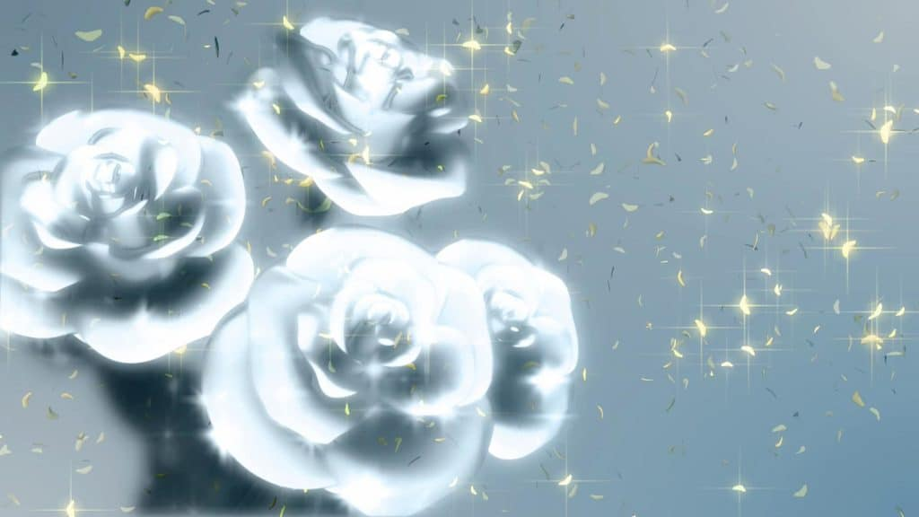 Wedding Themed Video Menue Background Of A Bunch Of White Roses On A Light Grey Background With Golden Confetti