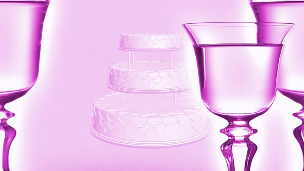 Wedding Video Menu Background with Fancy Cake and Champagne Glasses